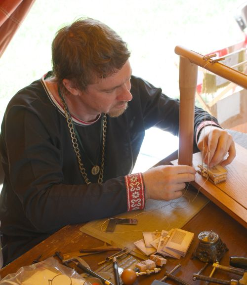 Sewing the miniature Romanesque Bestiary by Randy Asplund