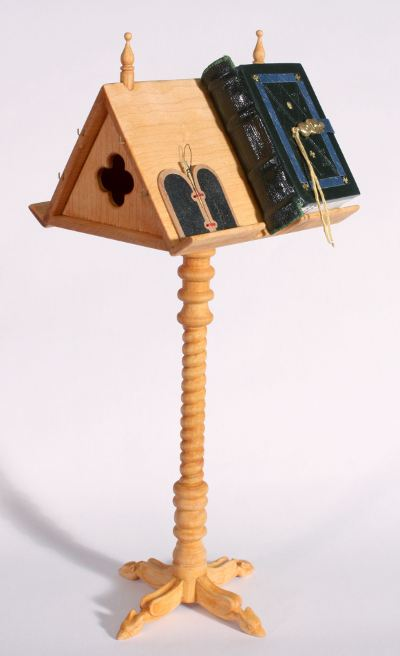 Lectern for miniature medieval books by Randy Asplund
